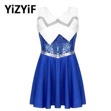 Cheerleading Uniform Women Cheerleader Dress Sleeveless Shiny Sequins Flared Short Dress Dance Competition Cheerleader Costume