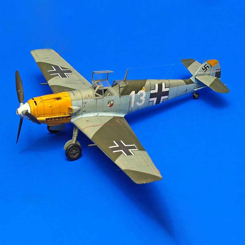 1:33 Duitse BF-109 E-4 Vechter DIY 3D Papieren Kaart Model Building Set Educatief Speelgoed Militaire Model Bouw Speelgoed