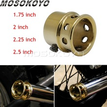Vintage Brass Drilled Exhaust Tip Old School 1.75 2 2.25 2.5 Pipe End Cap for Harley Triumph XS650 Bobber Chopper Cafe Racer universal led angel eye projector daymaker high low beam headlight cruiser chopper cafe racer old school bobber touring