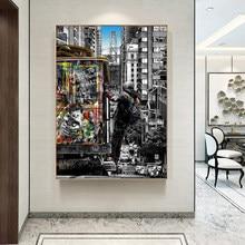 Rua paisagem da cidade de londres pintura em tela cuadros posters impressão arte da parede para sala de estar decoração casa (sem moldura)