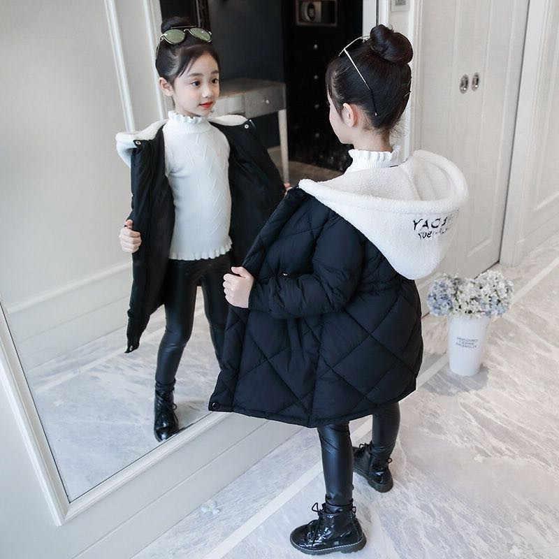 Novas meninas roupas crianças engrossar casaco quente crianças roupas da menina do inverno parka real pele de guaxinim com capuz para baixo jaqueta de algodão 3-14y