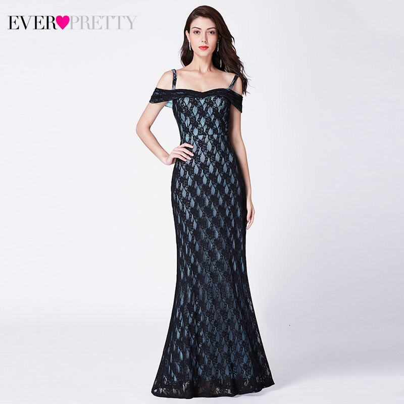 Sexy Black Lace Evening Dresses Long Ever Pretty EP07332BK Off Shoulder Spaghetti Straps Mermaid Party Gowns Robe De Soiree