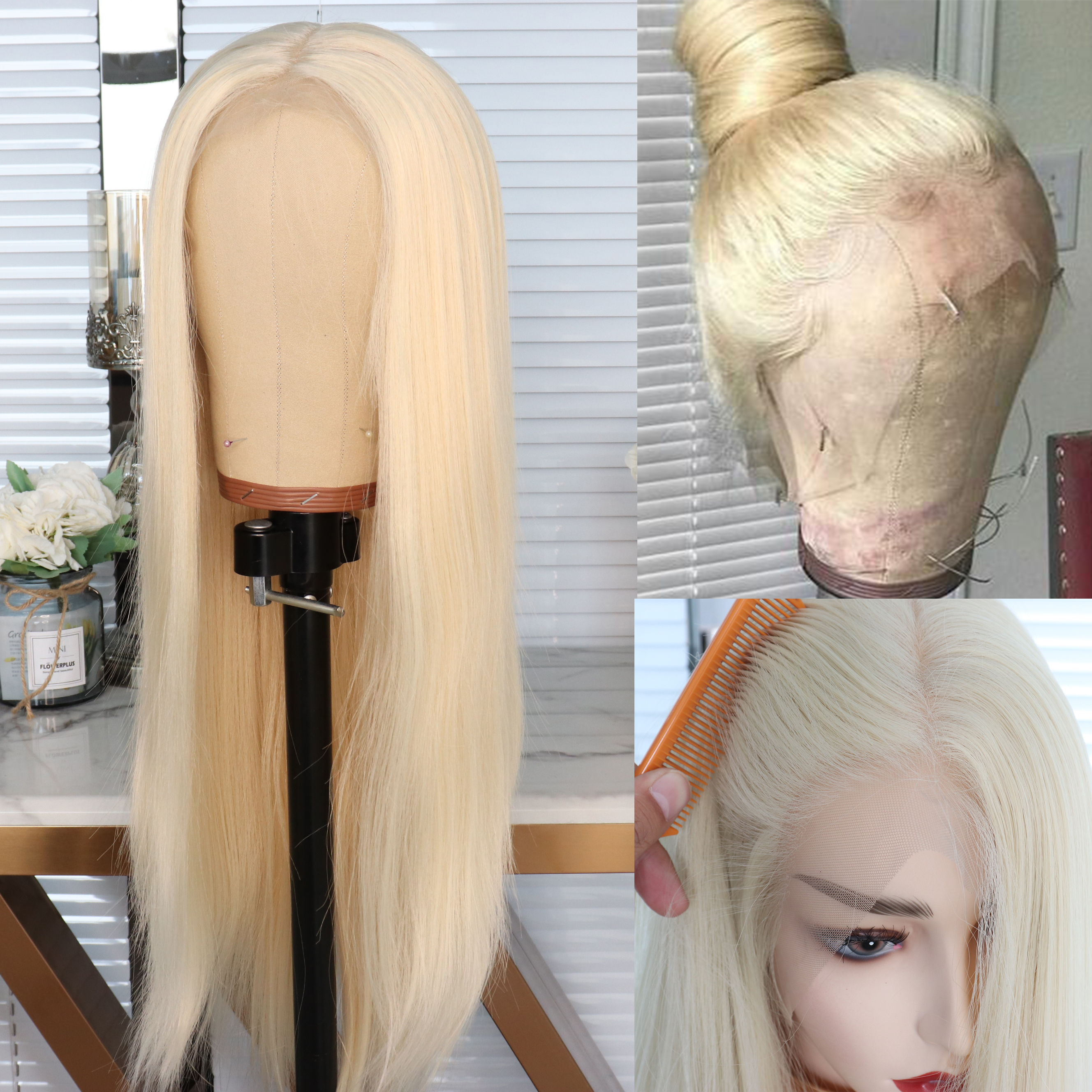 Newness Wigs Lace-Wig Blonde Heat-Resistant Long Straight Synthetic Silky Pre-Plucked title=
