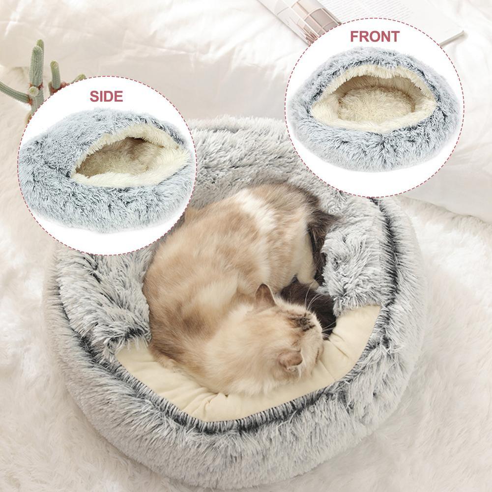 Супер мягкая кровать cat круглый 2 в 1 закрытый любимчика Питомник