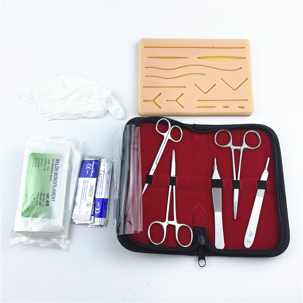 Surgical Suture Training Kit Skin Operate Suture Practice Model Training Pad Needle Scissors Tool Kit Teaching Equipment