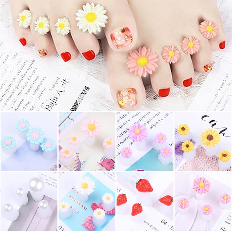 8 Pcs Toe Separators Pedicure Nail Tools Nail Silicone Carving Design Finger Splitter Toe Separator 8 Colors Available