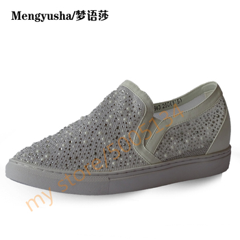 MengyushaSpring and summer mesh breathable rhinestone lazy flat shoes by a small white shoes
