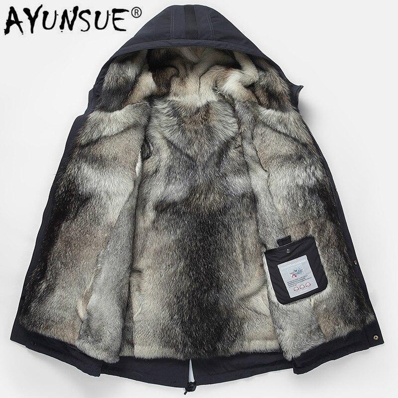 AYUNSUE 2019 Parka Real Fur Coat Men Hooded Natural Wolf Fur Liner Thick Warm Men's Fur Coats Parkas Hombre Overcoat 99-1500