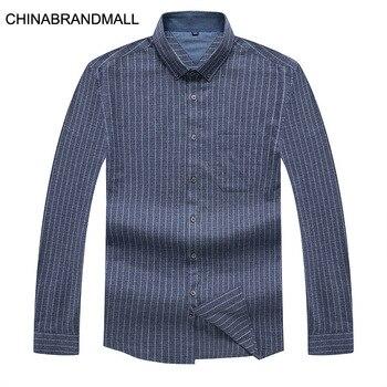 Fat Man Plus Fat Plus Size Length Sleeve Shirt Business Men Inside Cotton Lapel Stripes Shirt