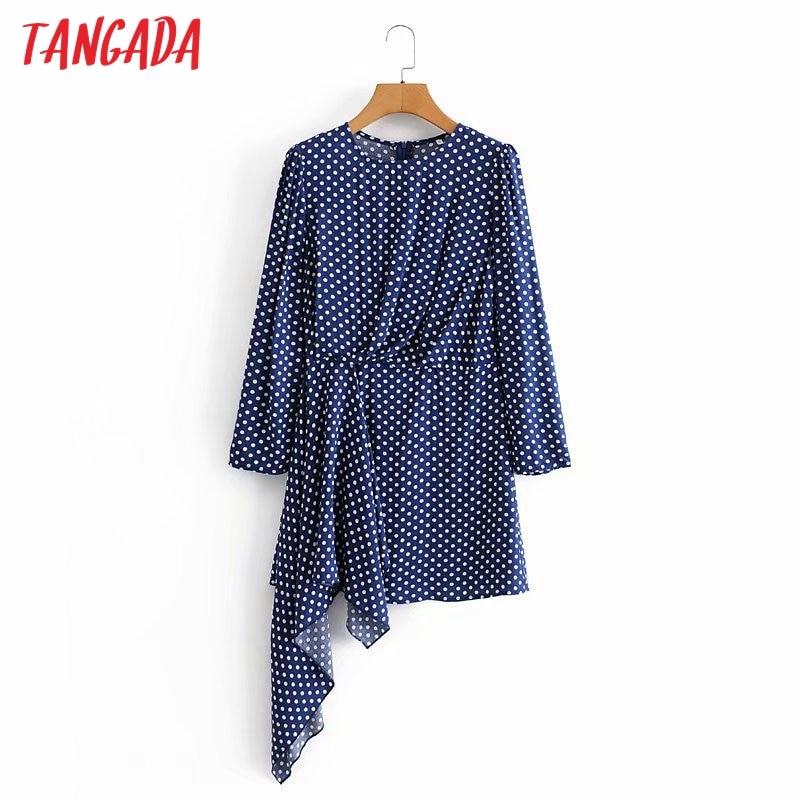 Moda de mujer Tangada de lunares azules, vestido Irregular de manga larga con cremallera, cuello redondo, vestido de fiesta 5D03
