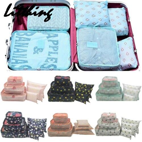 New 6PCS/Set Luggage Packing Organizer Set Travel Mesh Bag In Bag Luggage Organizer Packing Cosmetic Bag Organiser For Clothing