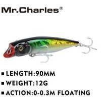 Mr. charles cmc031 isca de pesca 90mm/12g 0-0.3 m flutuante shad vib isca barbatanas duras iscas crankbait leurre wobbler