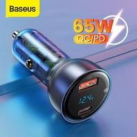 Baseus USB Auto Ladegerät PD 65W Schnelle Ladegerät Lade Quick Charge 4,0 QC 3,0 Typ C Ladegerät Für iPhone 12 Xiaomi Samsung MacBook