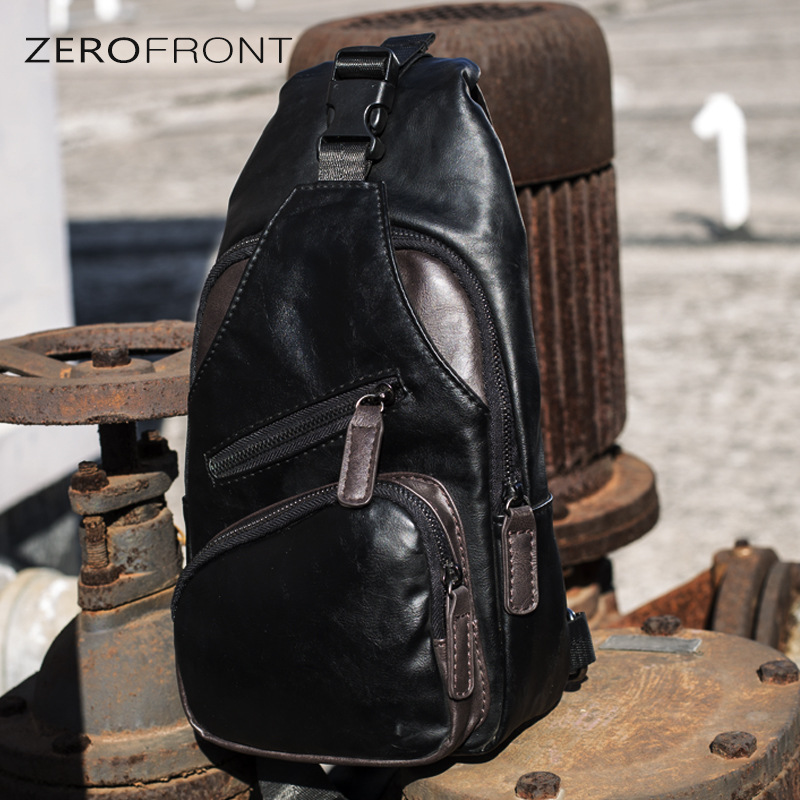 Korean-style 2018 New Style Men Chest Pack Hide Substance Shoulder Bag Shoulder Bag Soft Leather Bag Men's Bag Rides Luggage Fas
