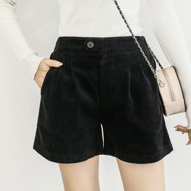 Autumn/Winter Women's Corduroy Shorts Plus Size 5XL Casual Loose Elastic Waist Harem Shorts Brown Black Brown