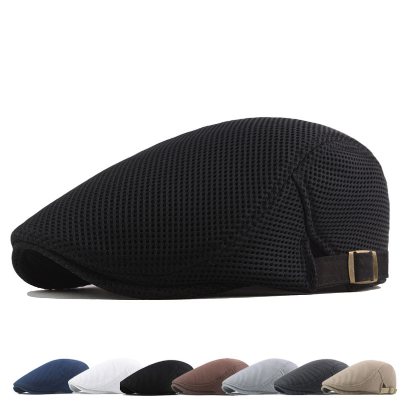 Spring Summer Men's Beret Solid Color Hollow Mesh Cap Breathable Adjustable ladies Sun Hat