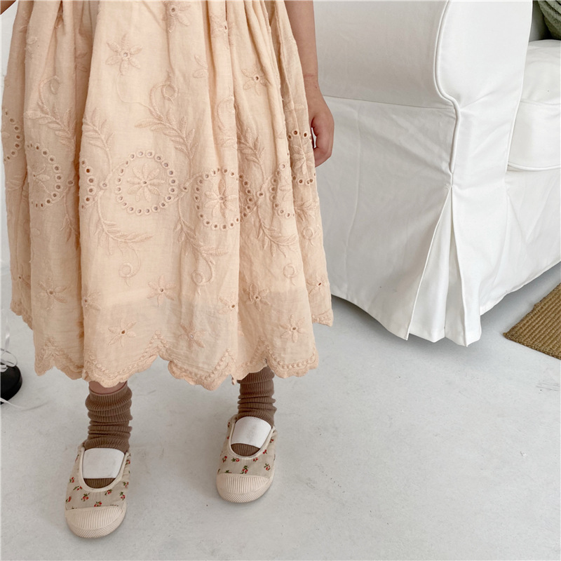 2020 Summer Girls Hollow Skirt Toddler Baby Solid Color Fashion Casual Embroidery Half Sling Skirts Baby Kids Long Skirt