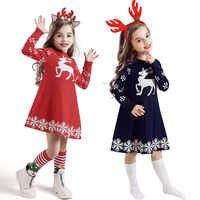 Invierno Niño bebé niñas ganchillo Navidad ciervo Vestido de punto + trajes con diadema manga larga de algodón suave vestidos infantiles para niñas