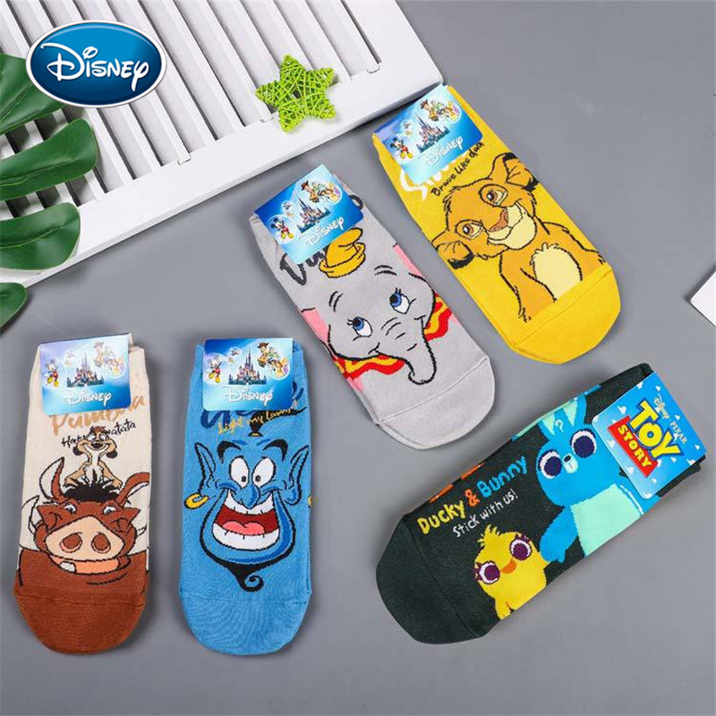 Disney 1pair Lion King Simba/Wild Boar/Aladdin Lamp God/Dumbo Socks Harajuku Cartoon Print Funny Sock Spring Short Sock