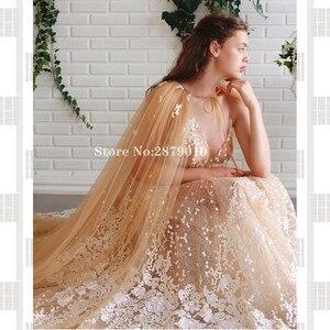 Image 3 - Elegant V Neck A Line Evening Dress Slit Floor Length Turkish Cape Prom Dress Robe De Soiree Aibye Vestido de festa 2020 Dubai