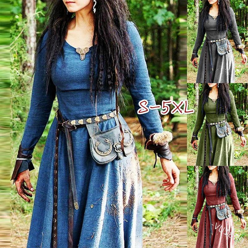 Medieval Dress Women Long Sleeve Maxi Robe Vintage Fairy Elven Dress Renaissance Celtic Viking Gothic Clothing Fantasy Ball Gown