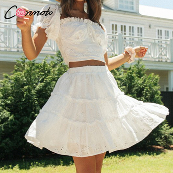 Conmoto Roman holiday style two pieces ruffled women set summer Romantic puff sleeve top and embroidery skirt Bow sash slim suit 1