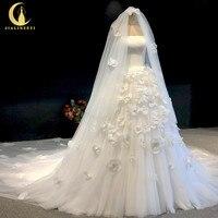 Rhine real Pictures Straples organza flowers with veil платье на выпускной Wedding gown wedding dresses 2020