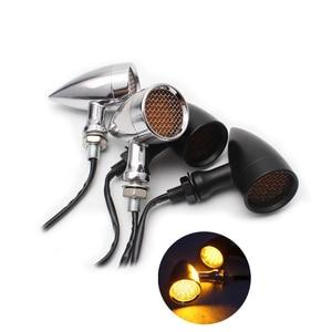 Image 1 - 1pair Retro Bullet Black Grid Motorcycle Turn Signal Light LED Brake Light Metal Shell Blinkers Flashers for Harley Honda Yamaha
