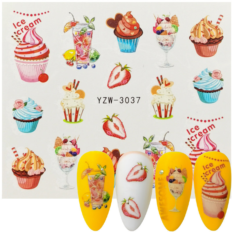 1 Sheet Sweets Ice Cream Summer Nail Sticker Mixed Colorful Fruit DIY Water Decals Nail Art Decorations Manicure Slider Tool