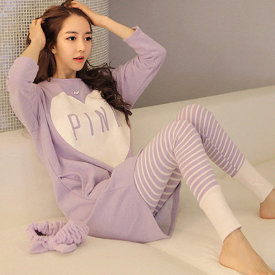 Spring And Autumn Pajamas Peach Heart Purple Pink Owl, Wheat Ear Dog Household Suit  Pink  Pajamas For Women