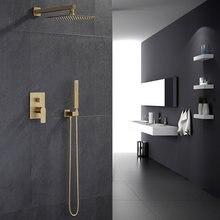 Матовый золотистый набор для душа ванной комнаты смеситель «тропический