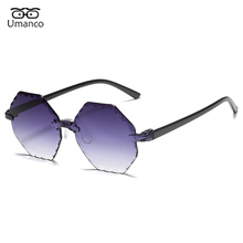 Hexagon Sunglasses Female UV400 Women New-Fashion Luxury Brand Rimless Resin Umanco
