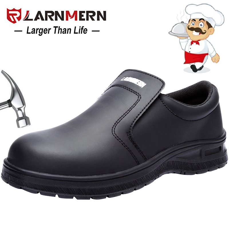 LARNMERN Men's Safety Shoes Work Shoes Steel Toe Waterproof Non-slip Resistance Protective Footwear For Chef image