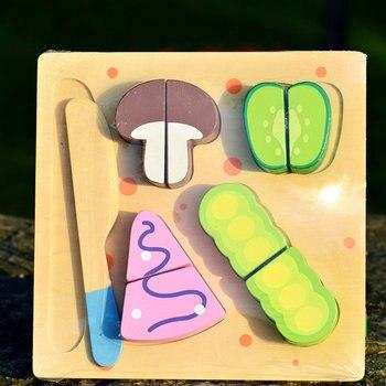 цена Free shipping Wooden fruits and vegetables Model Kitchen Toys Set, Kids Kitchen Pretend Play toys wood Classic Blocks toys онлайн в 2017 году