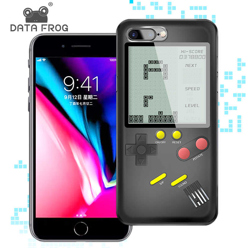 Consolas de juego Data Frog Tetris para iPhone funda Mini juego de mano para iPhone 6/6s consola de juegos Retro caso para iPhone 7 8P X/XS