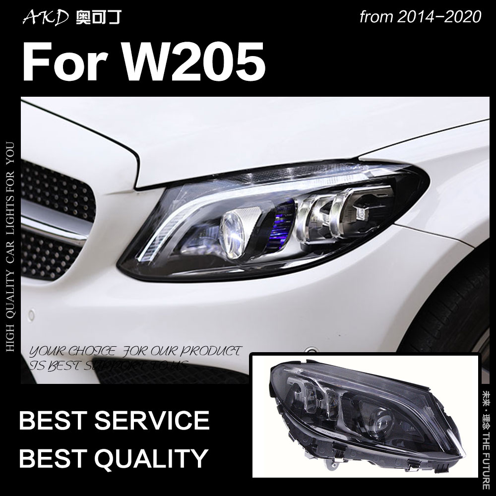 AKD Car Styling Head Lamp For Benz W205 Headlights 2014-2020 C180 C200 C260 C300 All LED Headlight LED DRL Auto Accessories