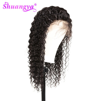 Shuangya Hair Lace Front Human Hair Wigs With Baby Hair Peruvian Deep Wave Wig Remy Hair Lace Wig Pre Plucked lace front wig