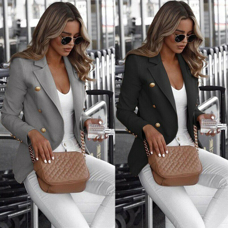 S-5XL Plus Size Women Lady Blazers Long Sleeve Button Blazer Work Office Jacket Coat Outwear Autumn Winter Warm Top Blazers Suit