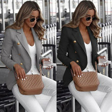 S-5XL Plus Size Women Lady Blazers Long Sleeve Button Blazer