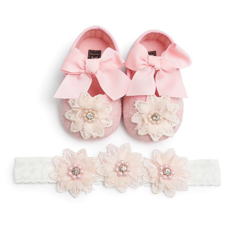 Baby Moccasins Shoes First-Walker Rhinestone Christening Ballerina-Booties Baptism Girls title=
