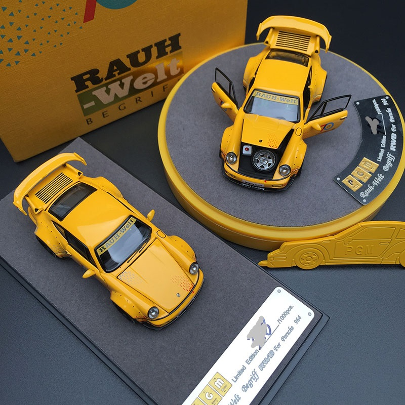 PGM 1/64 RAUH-WELT RWB 964 Begriff #23 70th Yellow Diecast Model Car