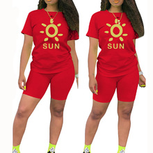 Sunshine Print T Shirts And Biker Shorts Set Women Two Piece Tracksuit Casual Summer Streetwear Outfits Ropa Deportiva Mujer
