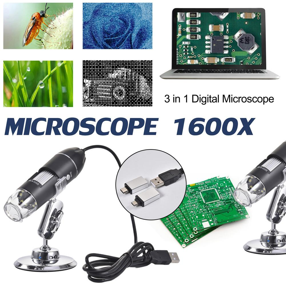 Preparation 3 In 1 Digital <font><b>USB</b></font> <font><b>Microscope</b></font> <font><b>1600X</b></font> Portable Two Adapters Support Windows Android Phones Magnifier Microscopio image