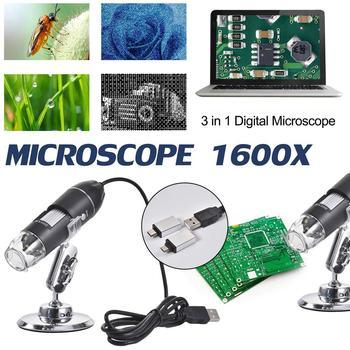 Preparazione 3 In 1 Digital USB Microscopio 1600X Portatile A Due SIM Card e Adattatori Supporto Finestre Telefoni Android Lente di Ingrandimento Microscopio-in Microscopi da Attrezzi su Healthy Life Dropshipping Store