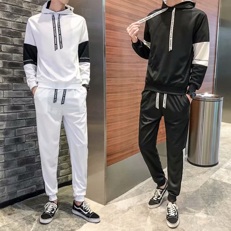 Autumn & Winter Set Hoodie Men's Korean-style Trend Hooded Coat Students Teenager Casual Sports Two-Piece Clothes