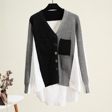Women V-Neck Long Sleeve Patchwork Shirt Sweater Ladies Autumn Fashion Blouses