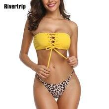 Rivertrip 2019 String Bikini Set Solid Swimwear Women New Sexy High Cut Swimsuits Lace-up Bathing Suit Leopard Bikini Botton grommet lace up solid bikini set