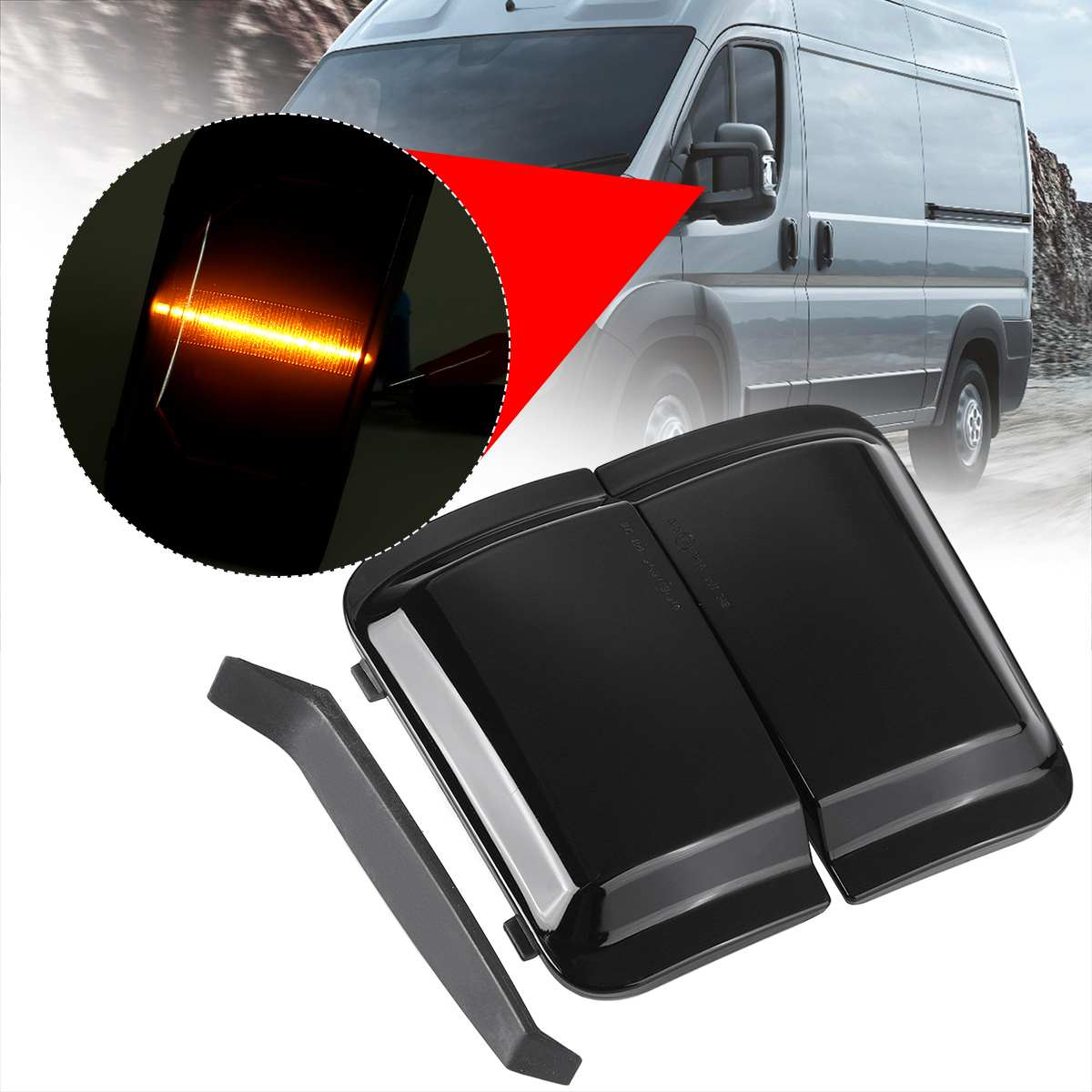 Pair Side Mirror Light Smoke Lens Rearview Mirror Indicator Lights Welcome Lamps Signal Lamp For PEUGEOT BOXER For FIAT DUCATO