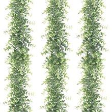 3 pacote artificial eucalipto guirlanda, falso videiras verde guirlanda casamento pano de fundo arco, 6 pés/pces planta de suspensão