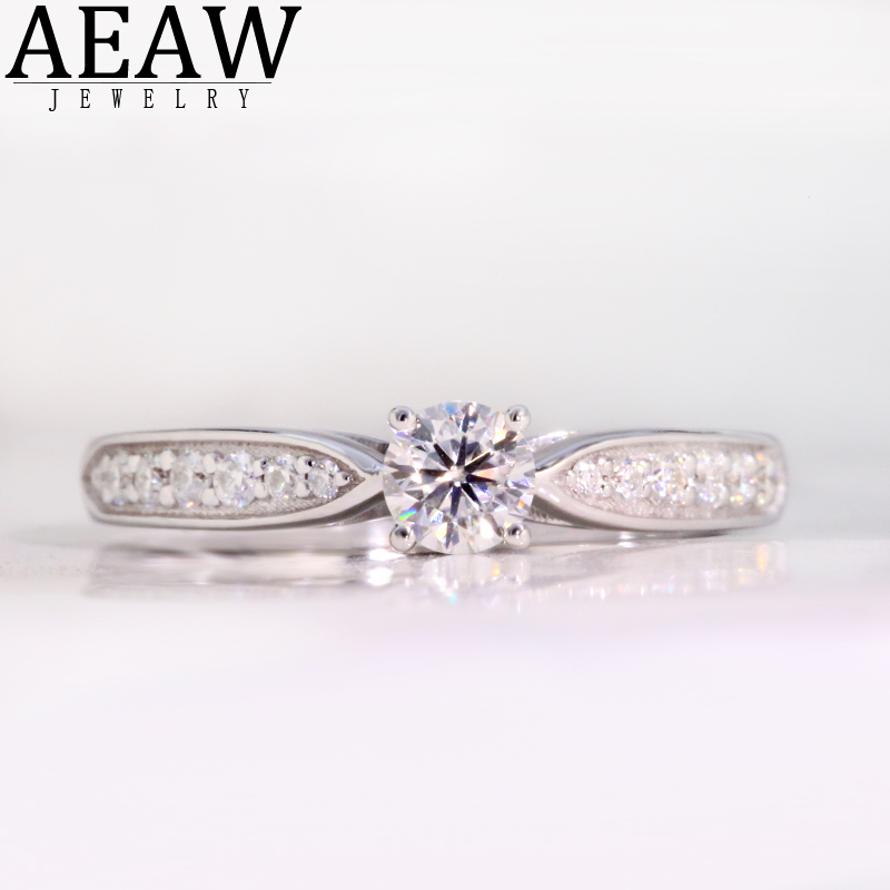 AEAW 14K White Gold 0.3ct 4mm Round Cut Moissanite Engagement Diamond Ring Anniversary Ring Moissanite Ring For Women